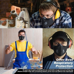 Dust Mesh Mask Activated Carbon Filter Dust Odor Mask Anti-Fog Electric Mask Face Dust Mask 5 layers P.25 Filter Chip Optional 10Pcs