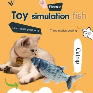 1Pc Cat Electric Chargeable Wagging Fish Realistic Plush Toy Simulation Catnip Soft Gift For Pet Cat Chewing(Exclued Usb Cable)