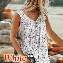 Load image into Gallery viewer, New Summer Printed Vest Floral Floral Sleeveless Vest V-neck Shirt Women