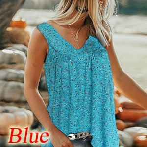 New Summer Printed Vest Floral Floral Sleeveless Vest V-neck Shirt Women