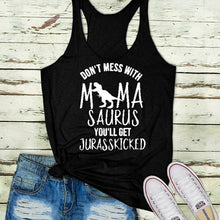 Load image into Gallery viewer, Summer Women Jurassic Mom of Dino Tank Tops Casual Vest Don't Mess with MamaSaurus You'll Get Jurasskicked Funny Mom Shirt Sleeveless Blouse Plus Size