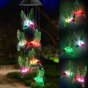 Solar Transparent Stars, Dragonflies, Colorful Hummingbirds, Balls, Sun Wind Chimes Colorful Color Changing LED Lights Garden Garden Home Party Wedding Dinner Decoration Lights
