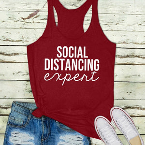 5 Color Summer Women Fashion Casual Sleeveless Tops Social Distancing Expert Printed Tank Tops Yoga Shirts Plus Size Shirts