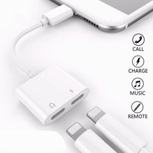 Load image into Gallery viewer, 2 in 1 for Lightning Adapter For iPhone 7 Double from headphones listening to mobile phone charging adapter For iPhone 8 7 Plus 10 X Charger Splitter Headphone Adapter