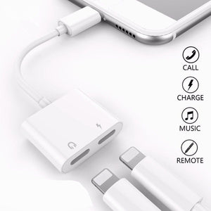 2 in 1 for Lightning Adapter For iPhone 7 Double from headphones listening to mobile phone charging adapter For iPhone 8 7 Plus 10 X Charger Splitter Headphone Adapter