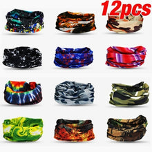 Load image into Gallery viewer, 12PCS Unisex Seamless Rave Bandana Neck Gaiter Tube Mask Headwear Motorcycle for Women Men Face Scarf