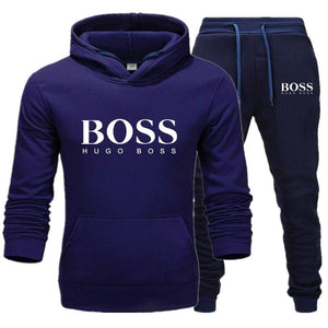 Hot spring and autumn men's business casual pullover cotton sportswear fashion suit two