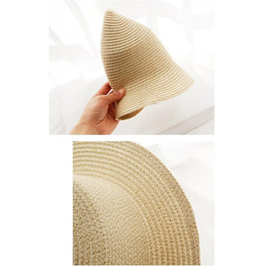 Ladies hat summer outdoor travel beach sun hat foldable color straw hat hiking hat fashion trend student bucket hat accessories