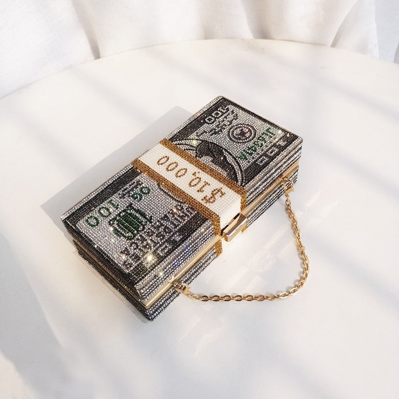 Stack of Cash Crystals Women Money Evening Clutch Bags diamond painting chain Wedding Dinner Purses and Handbags luxury women