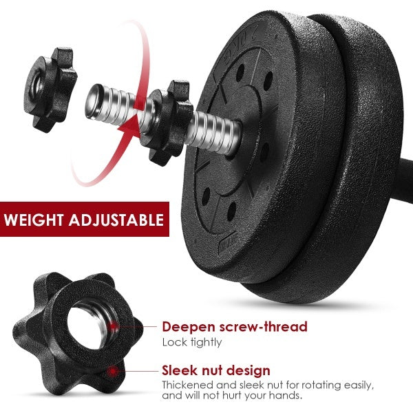 BESPORTBLE A Pair of 30kg Dumbbell Weight Set Adjustable Solid Fitness Dumbbell Set Safety and Non-slip Dumbbells Gym Exercise Training Tools