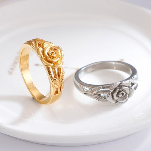 Vintage Courtship 3D Rose Flower Leaf Finger Wedding Rings for Women 14k Gold   Ring Glamour Party Jewelry Girl Couple Gift