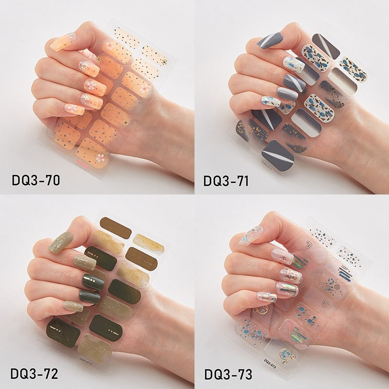 1PC (including 14 Small Stickers) 3D Bronzing Laser Process Nail Polish Films Solid Color Glitter Powder Nail Strips Waterproof Long Lasting Nail Patch Eco-friendly Nail Decals Sticker