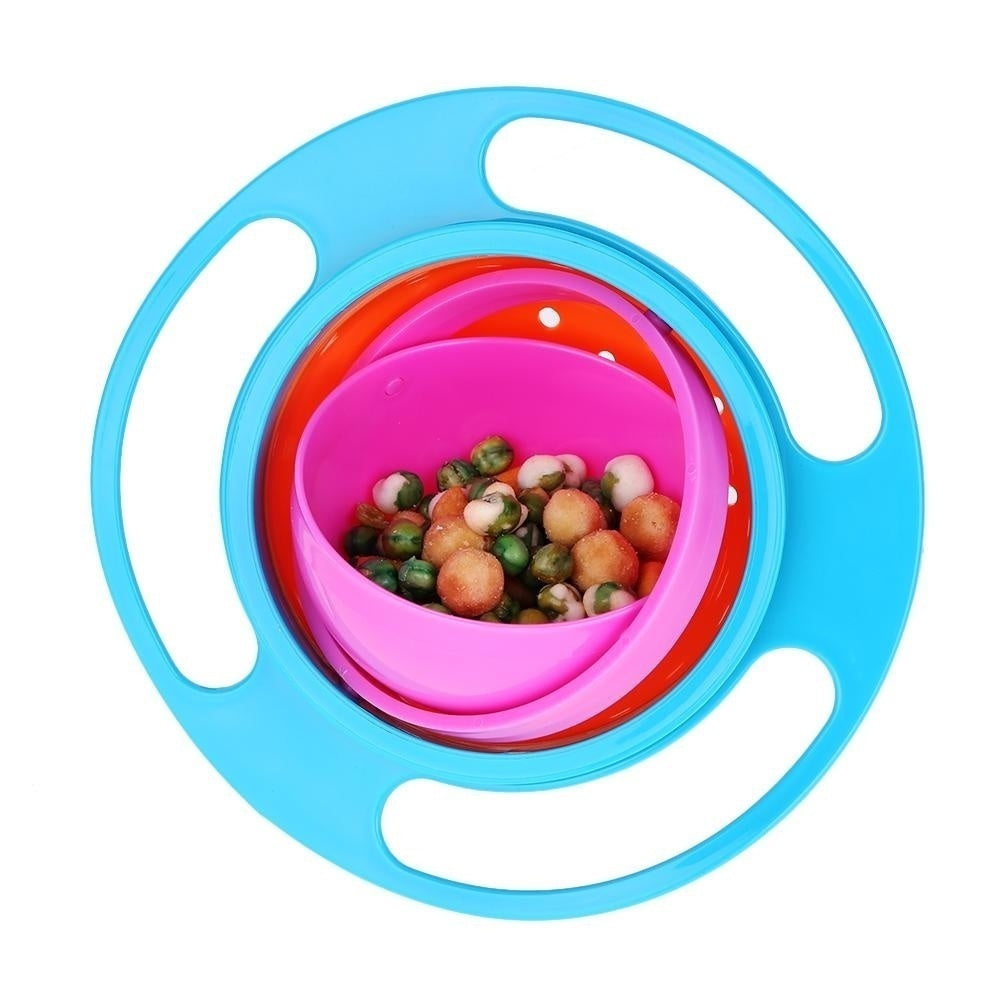 Novelty 360 Rotary Gyro Umbrella Spill-Proof Children Balance Bowl and Kids Soft Silicone Feeding Flatware Baby Rice Spoon