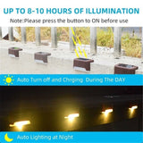 Outdoor Solar Lights Deck Lights Solar Step Lights Wall-mounted Waterproof Nightlight For Stairs Step Fence Yard Patio and Pathway