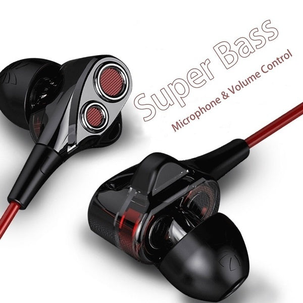 Dual-Dynamic Quad-core Speaker Wired Earphone 3.5mm In-ear Ear buds with Microphone and Volume Control Music Headset Bass Headphones for iPhone Samsung and More SmartPhones MP3