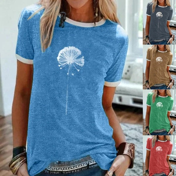 Women Summer Vintage Short Sleeve Statement Dandelion Printed Crew Neck Plus Size Casual Tops