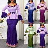African Women Skirt Suits Printed Two Piece Flare Sleeve Maxi Dress Suits Africa Traditional Clothing