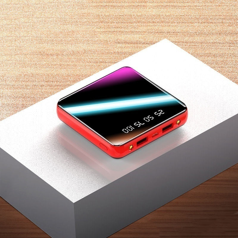 2020 Newest 10000000mAh Huge Capacity Mini Power Bank Digital Display External Battery Charger Full Mirror Screen Dual USB Fast Charging Power Bank