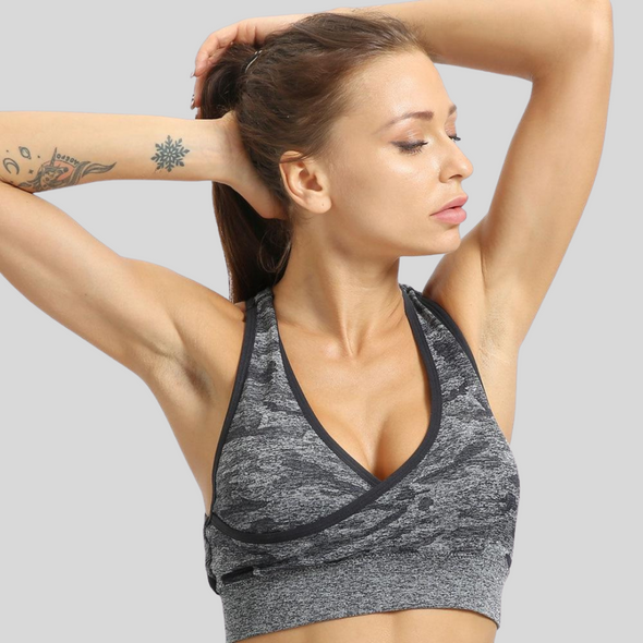 Audrey Camo V-Cut Sports Bra