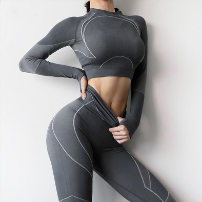Aliyah Metric Seamless Long-Sleeve Crop Top