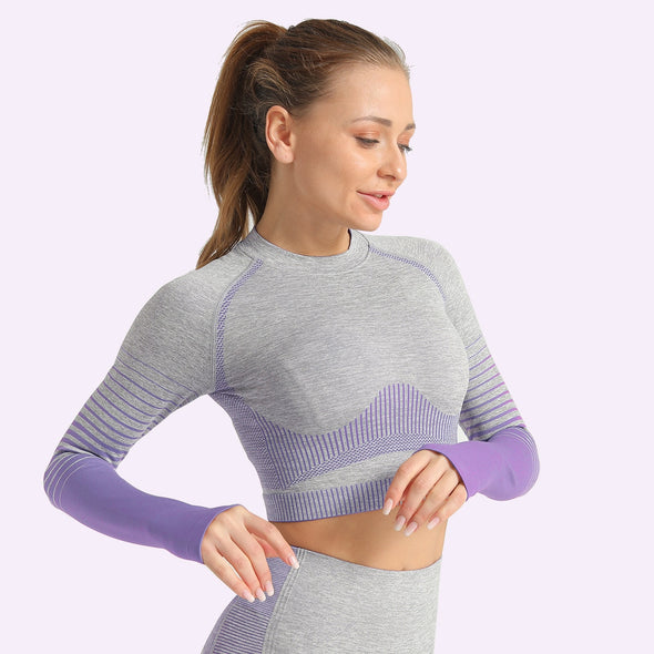 Aria Stripe Seamless Long-Sleeve Crop Top