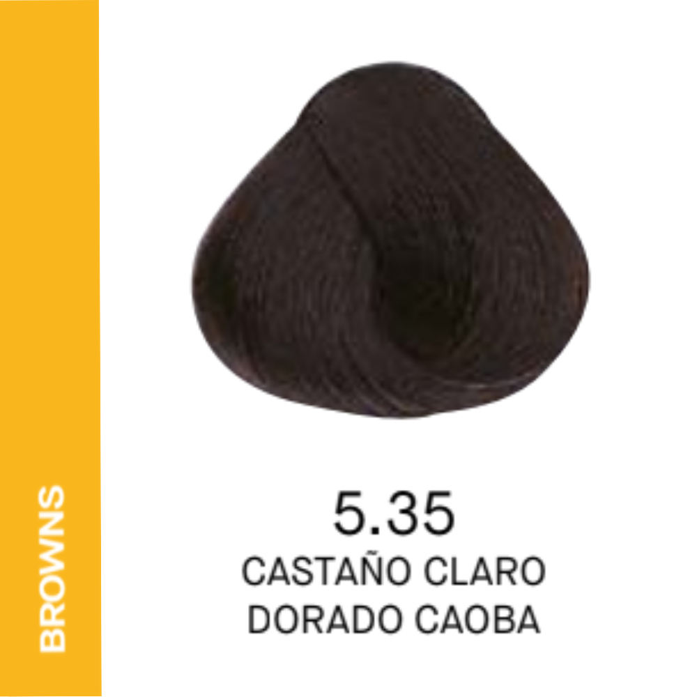 YELLOW COLOR 5.35 CASTAÑO CLARO DORADO CAOBA 60ML