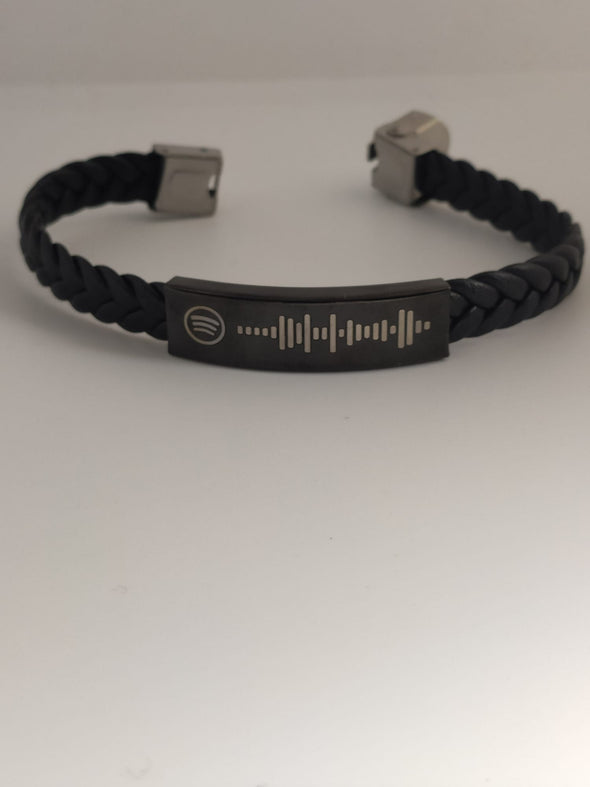 Black Braided Rope Bracelet with Dedicated Spotify Song
