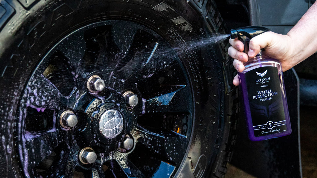 Apply wheel cleaner until the colour changes
