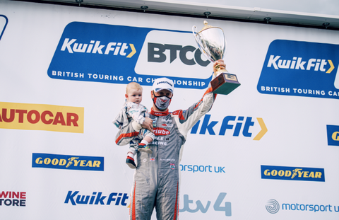 Adam Morgan on the Podium at Oulton Park