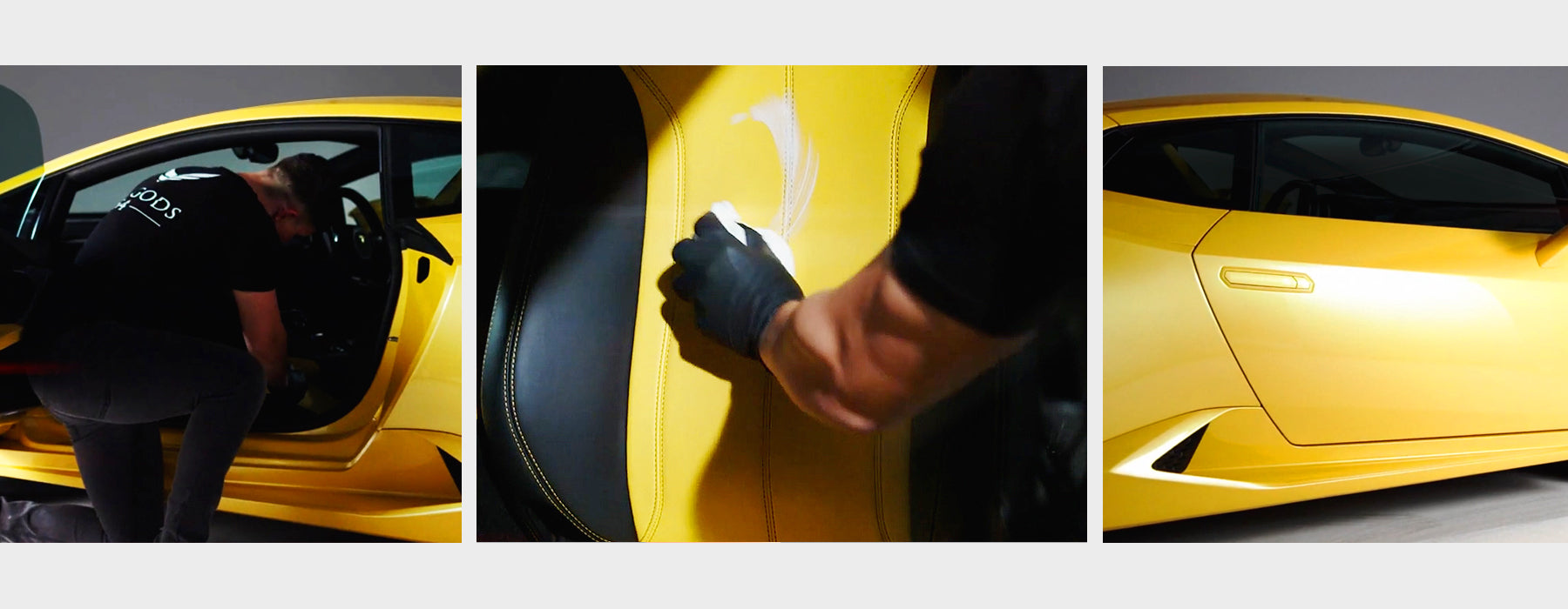 Yellow leather seats of a Lamborghini being cleaned