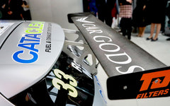 Car Gods branded spoiler on BTCC car