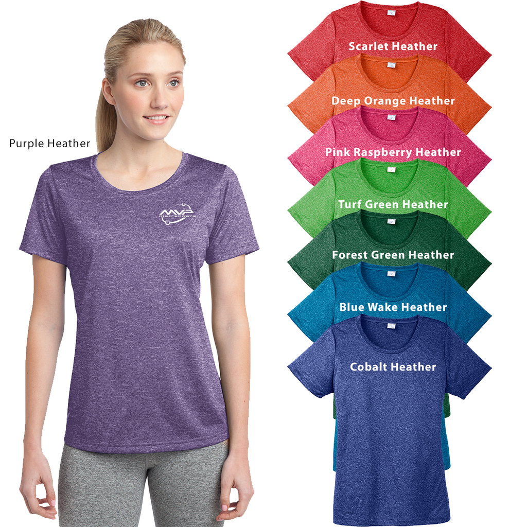 MVP - ADULT LADIES - Sport-Tek® Ladies Heather Contender™ Scoop Neck Tee