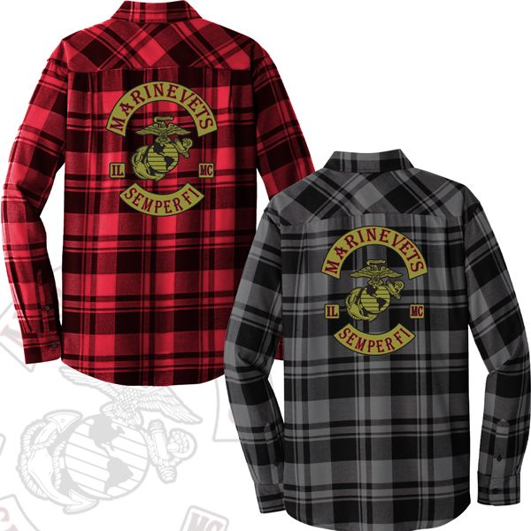 Marine Vets MC Plaid Flannel Shirt