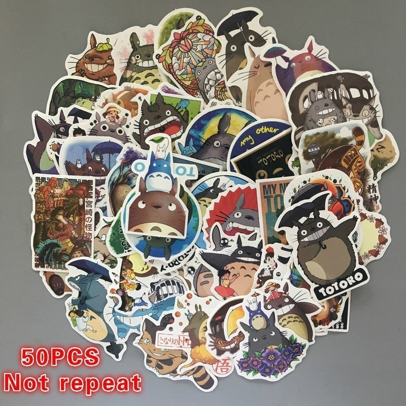25/50PCS Cartoon Totoro Sticker Skateboard Sticker Laptop Snowboard Car Fridge Surf Vinyl Decal Random Patterns