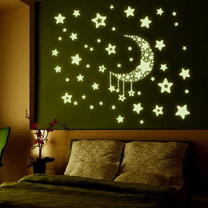 DIY Night Light Glow In The Dark Moon Stars Wall Stickers Home Decor Decals