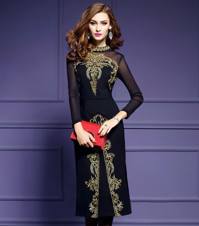 Elegant Vintage Women long Dress Long sleeves Slim Plus Size Sexy Embroidery Casual Dress Party Dresses