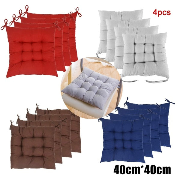 4PCS Non-Slip Dining Chair Seat Pads with Ties Square Thick Booster Cushion for Dining Living Room Office Chair