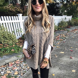 Autumn Winter Women Fashion Long Sleeve High Collar Clothes Casual Solid Color Knitted Pullovers Cute Warm Sweater Plus Size S-5XL