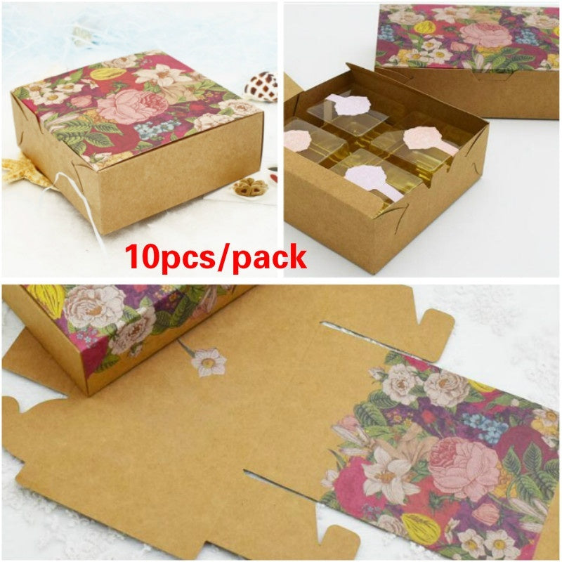 10pcs/lot Vintage Flower Kraft Paper Boxes Wedding Candy Cookie Biscuit Mooncake Packaging Boxes Chocolate Macaron Gift Boxes