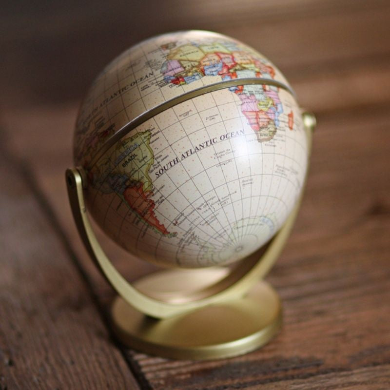 Vintage English Edition Globe World Map Decoration Earth Globes with Base Geography Classroom Home Office Decoration QOM