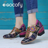 SOCOFY Women Retro Genuine Leather Colorful Stripes Soft Floral Hook Loop Pumps