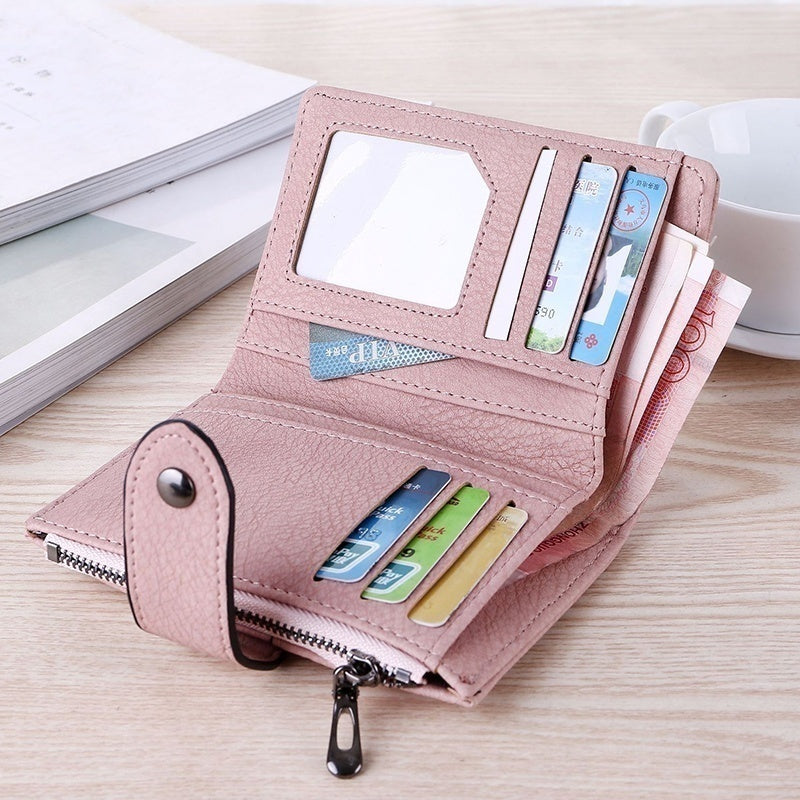Ladies Causal PU Leather Wallet Leather Small Brand Wallet Women Simple Short Zipper Ladies Coin Purse Card Holder Handbags Purse
