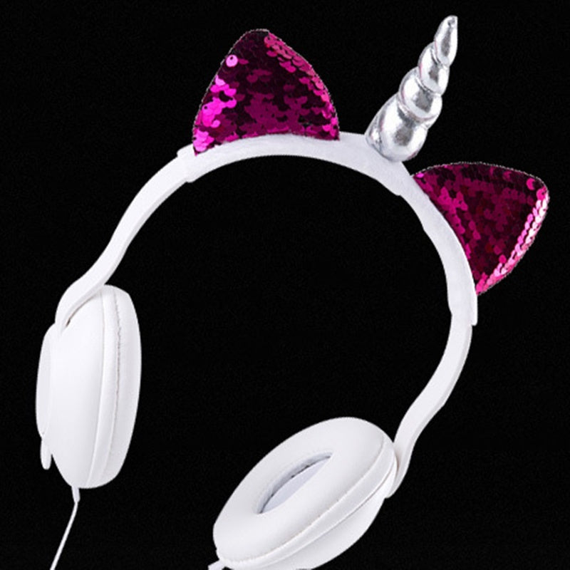 New Cute Music Headset Plush Sequin Unicorn Headphones Over The Ear Comfort Padded Stereo Head-Mounted Earphones