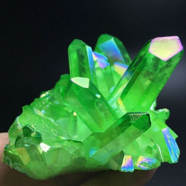 Natural Green Quartz Crystal Cluster Citrine Mineral Specimen Healing Home