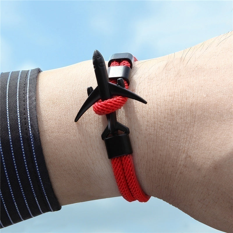 New Arrival Airplane Bracelets Men Charm Rope Chain Bracelet Male Wrap Metal Sport Hooks Jewelry