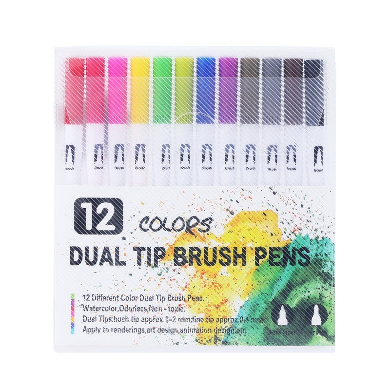 12/24/36/48/60/72Color Fineliner Water Based Dual Head Sketch Markers Brush Pen for Draw Coloring Books Design Art Supplies