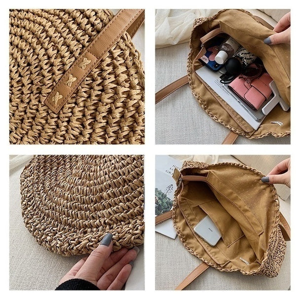 1 Pc Fashion Women's Shoulder Bag Woven Bag Beach Straw Bag Bohemian Round Bag URU