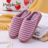 2019 Fashion Unisex Cotton Home Slippers Stripe Print Soft Indoor Warm Floor Shoes
