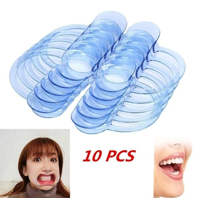 10PCS Dental Cheek Retractor Mouth Opener for Teeth Whitening Clear Blue C-Shape