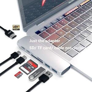 1Pc USB 3.0 Type-C Hub To HDMI Adapter 4K Thunderbolt 3 USB C TF SD Reader Slot PD for MacBook Pro/Air